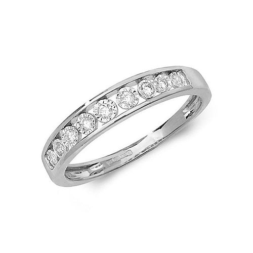 Illusion Set Half Eternity Diamond Ring (4.0mm, 3.0mm)