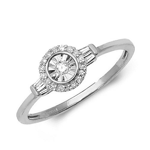 Baguette Diamond and Halo Illusion Set Engagement Ring (7.0mm)