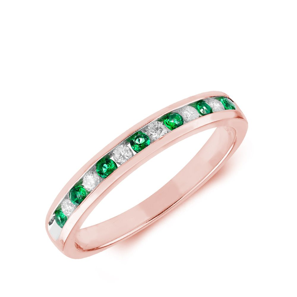 2.0mm Channel Set Half Eternity Diamond and emerald ring