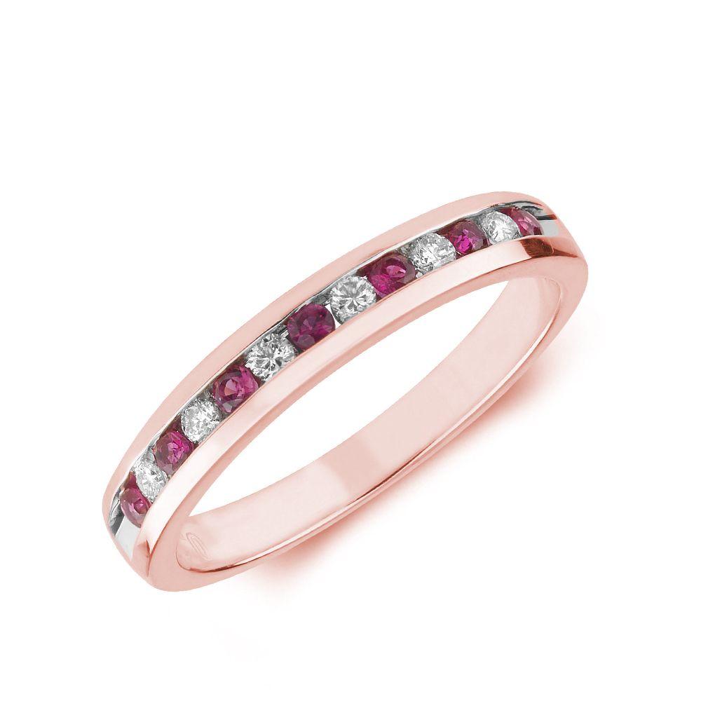 2.0mm Channel Set Half Eternity Diamond and ruby Gemstone Ring