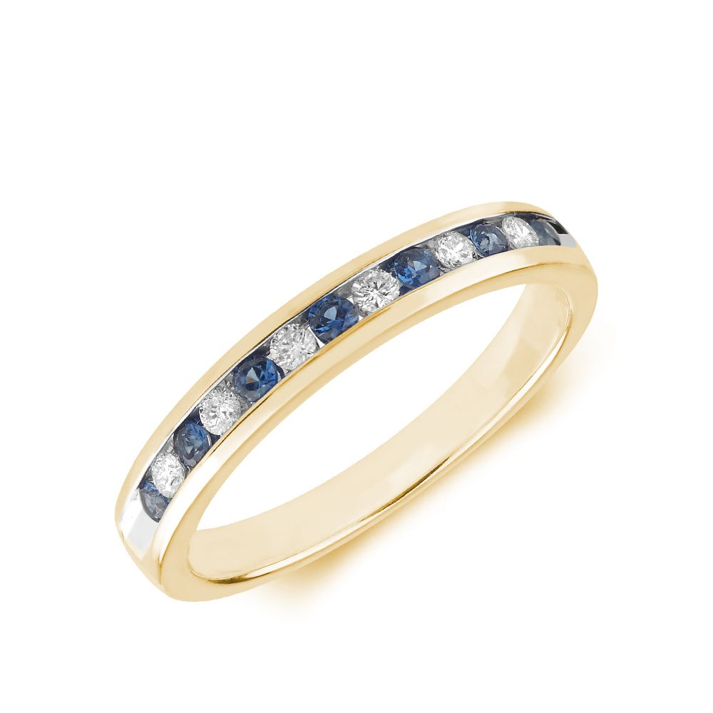 2.0mm Channel Set Half Eternity Diamond and sapphire rings