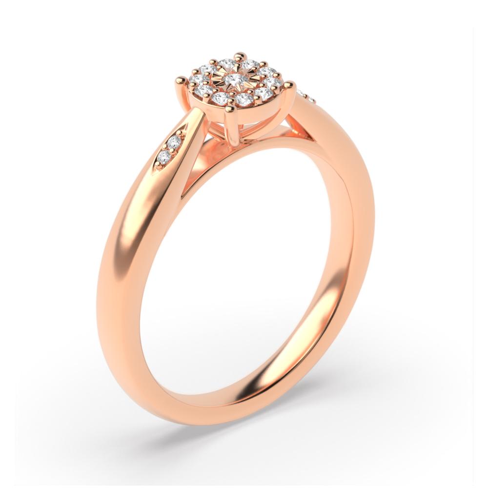 Illusion Set Side Stone Diamond Cluster Ring (5.0mm)