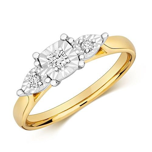 Cushion and Pear Shape Trilogy Illusion Set Diamond Ring (5.0mm)