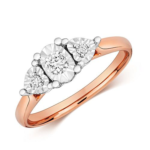 Oval and Heart Shape Trilogy Illusion Set Diamond Ring (6.0mm)