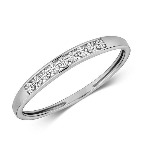 Channel Style Half Eternity Ring Illusion Set Diamond Ring (3.0mm)