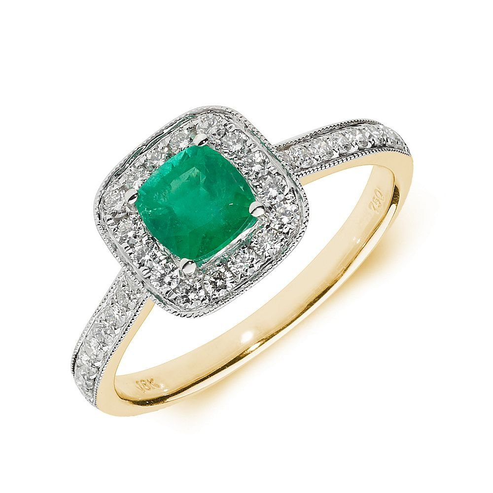 Gemstone Ring With 0.6ct Cushion Shape Emerald and Diamonds