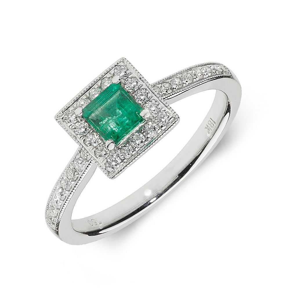Gemstone Ring With 0.4ct Princess Shape Emerald and Diamonds