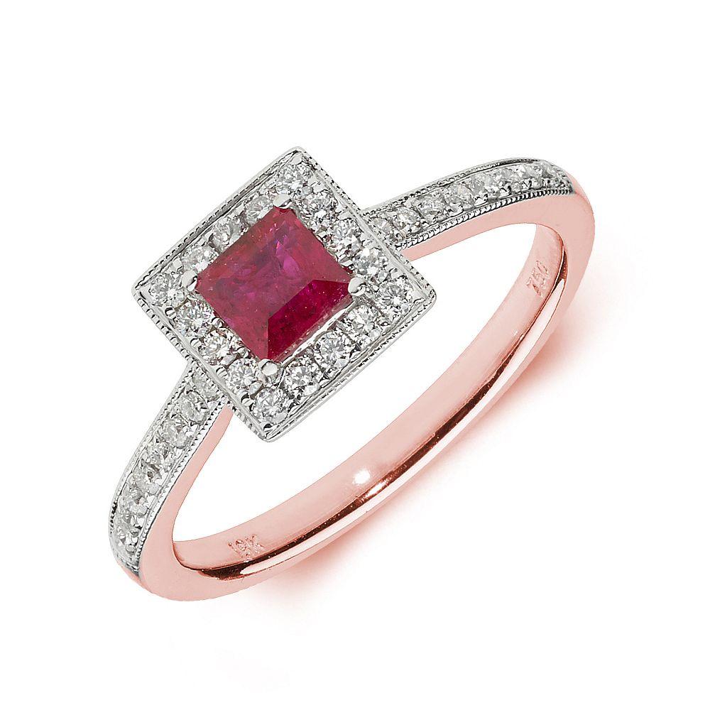 Gemstone Ring With 0.4ct Princess Shape Ruby and Diamonds
