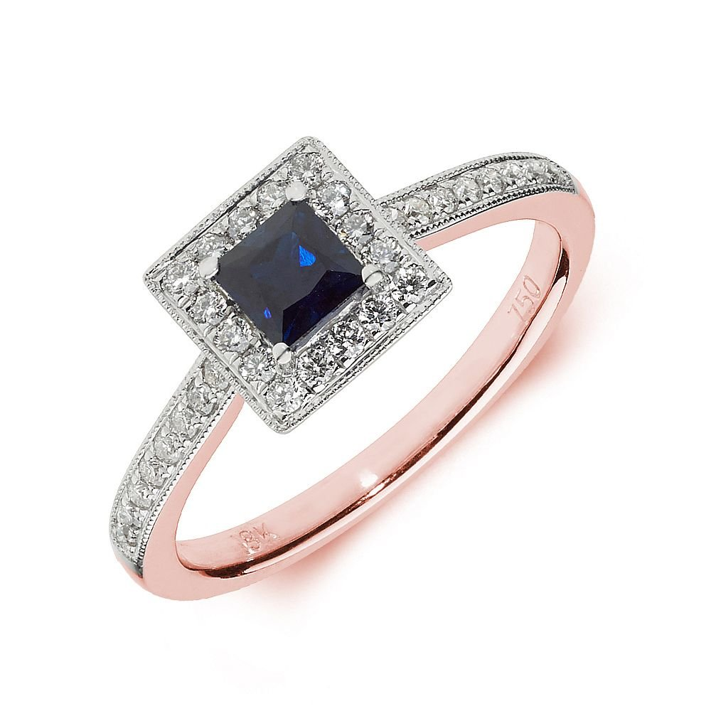 Gemstone Ring With 0.4ct Princess Shape Blue Sapphire and Diamonds