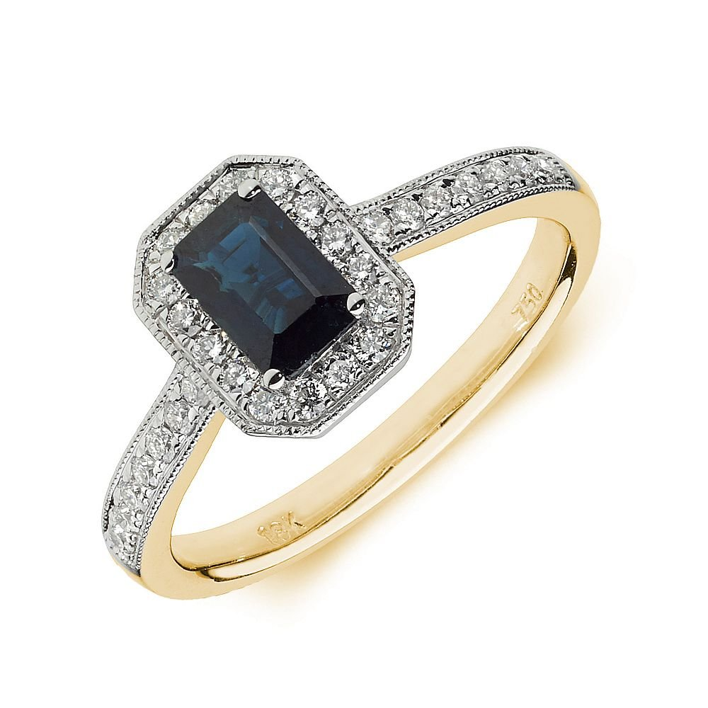 Gemstone Ring With 0.8ct Emerald Shape Sapphire and Diamonds