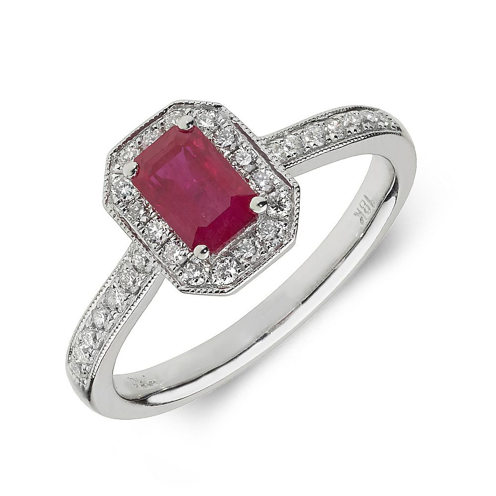 Gemstone Ring With 0.8ct Emerald Shape Ruby and Diamonds