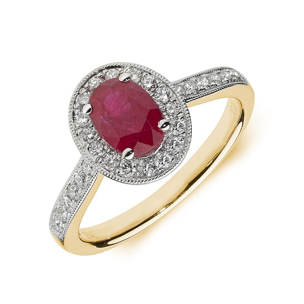 Gemstone Ring With 0.7ct Oval Shape Ruby and Diamonds