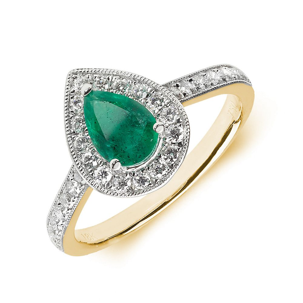 Gemstone Ring With 0.7ct Pear Shape Emerald and Diamonds