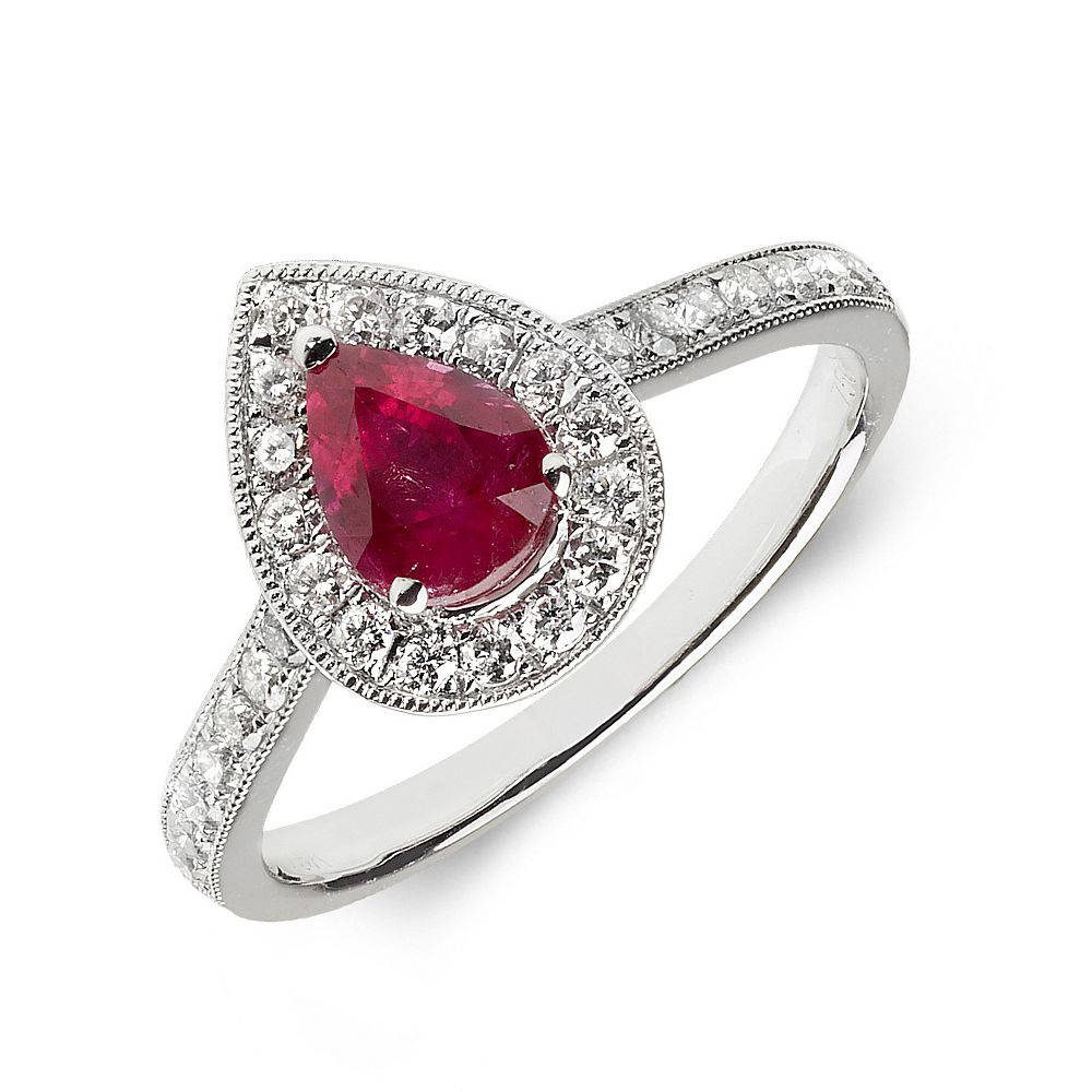 Gemstone Ring With 0.7ct Pear Shape Ruby and Diamonds