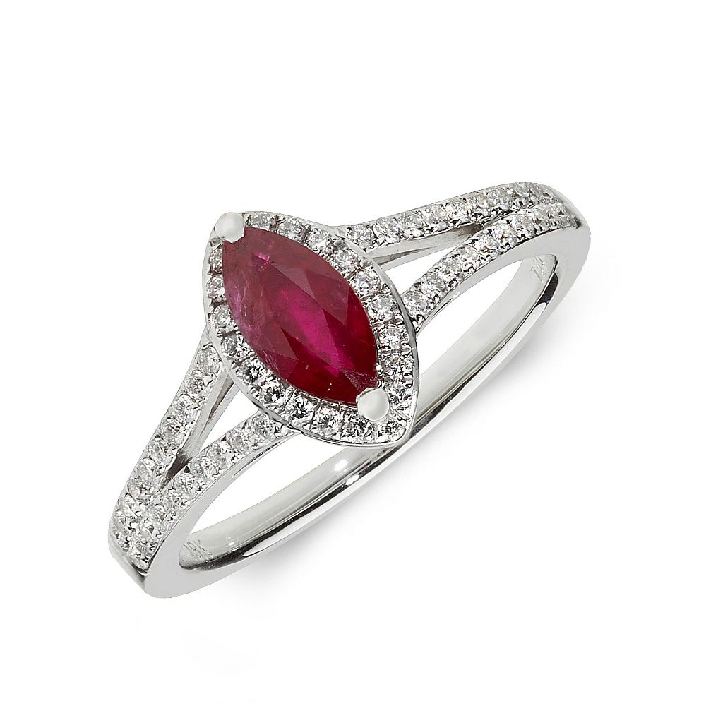 Gemstone Ring With 0.5ct Marquise Shape Ruby and Diamonds