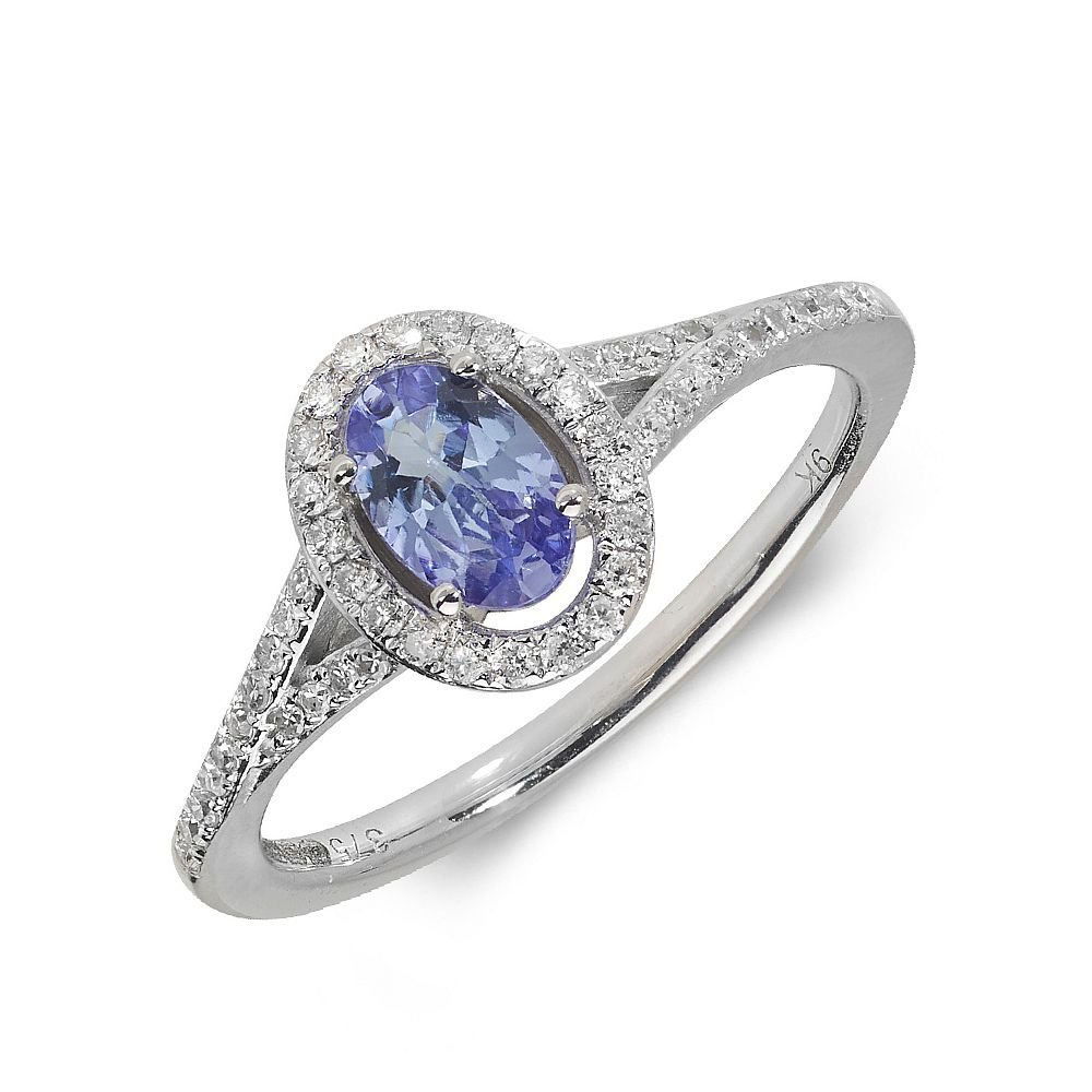 Gemstone Ring With 0.5ct Oval Shape Tanzanite and Diamonds