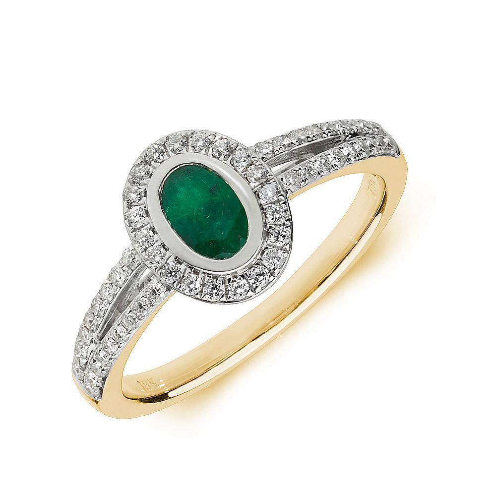 Gemstone Ring With 0.5ct Oval Shape Emerald and Diamonds