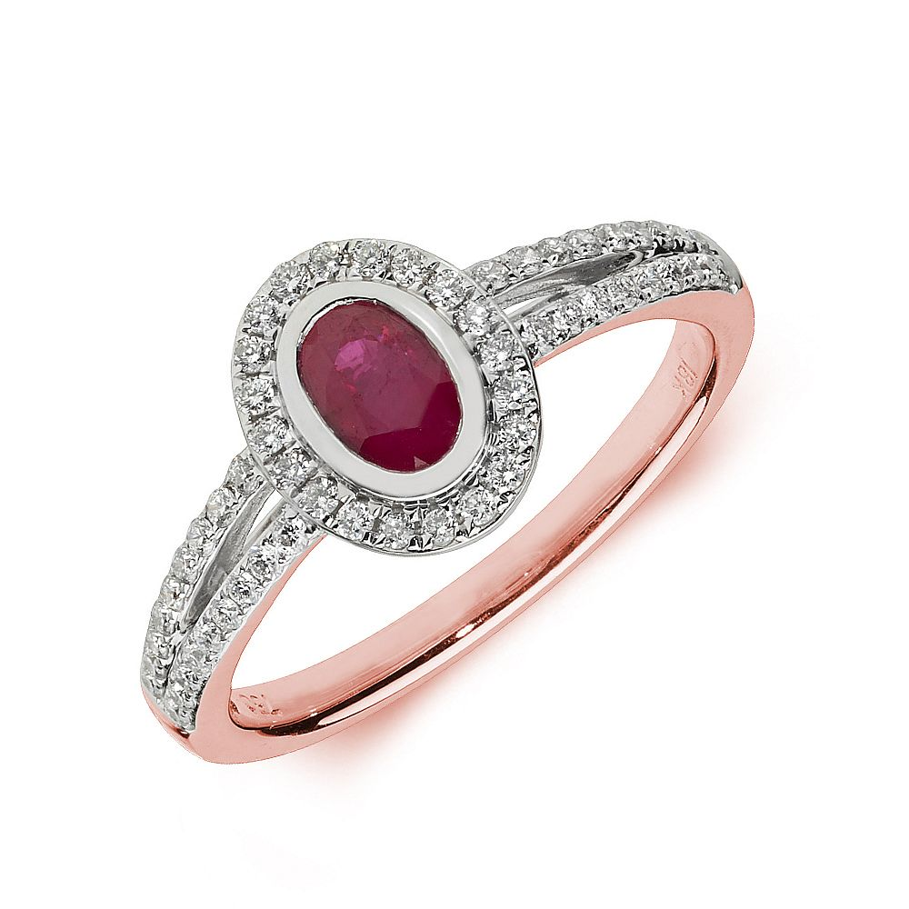 Gemstone Ring With 0.5ct Oval Shape Ruby and Diamonds