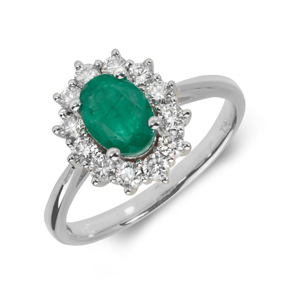 Gemstone Ring With 0.85ct Oval Shape Emerald and Diamonds