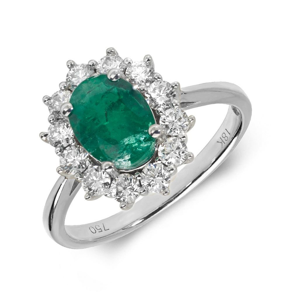 Gemstone Ring With 1.5ct Oval Shape Emerald and Diamonds