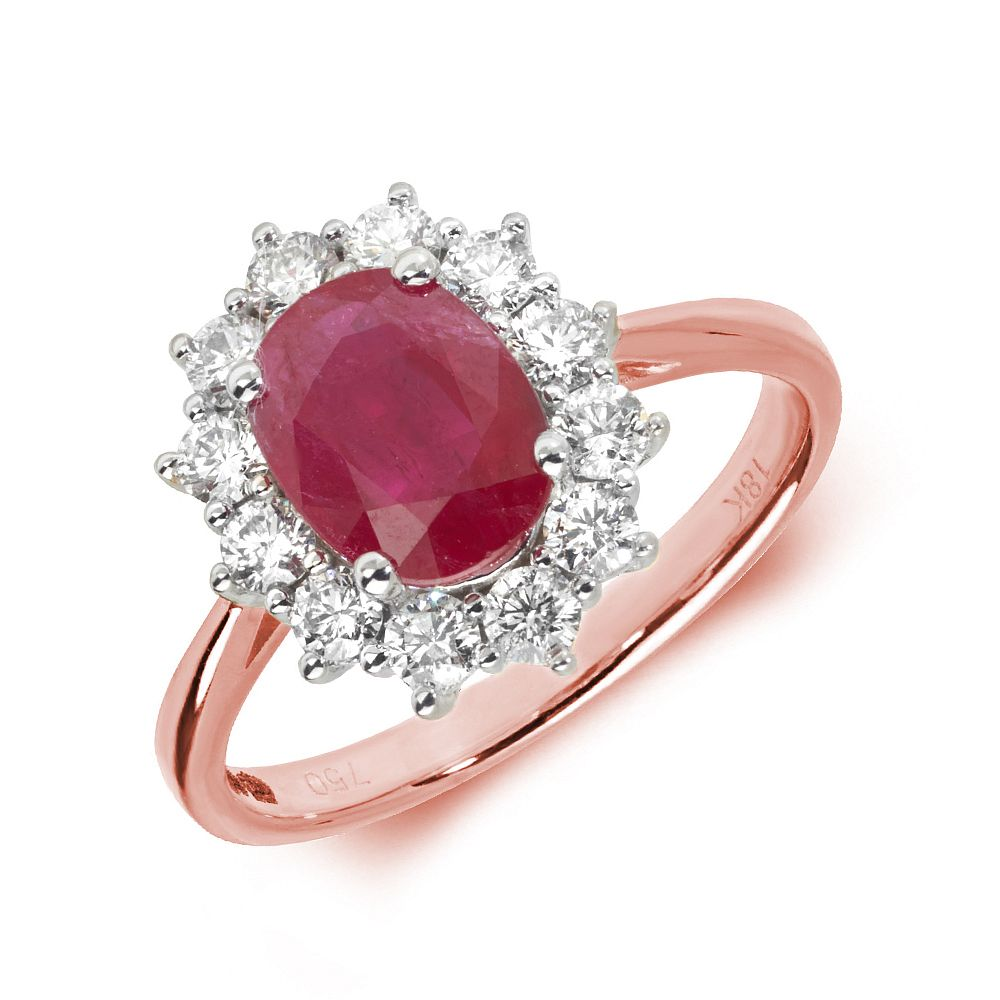 Gemstone Ring With 1.5ct Oval Shape Ruby and Diamonds