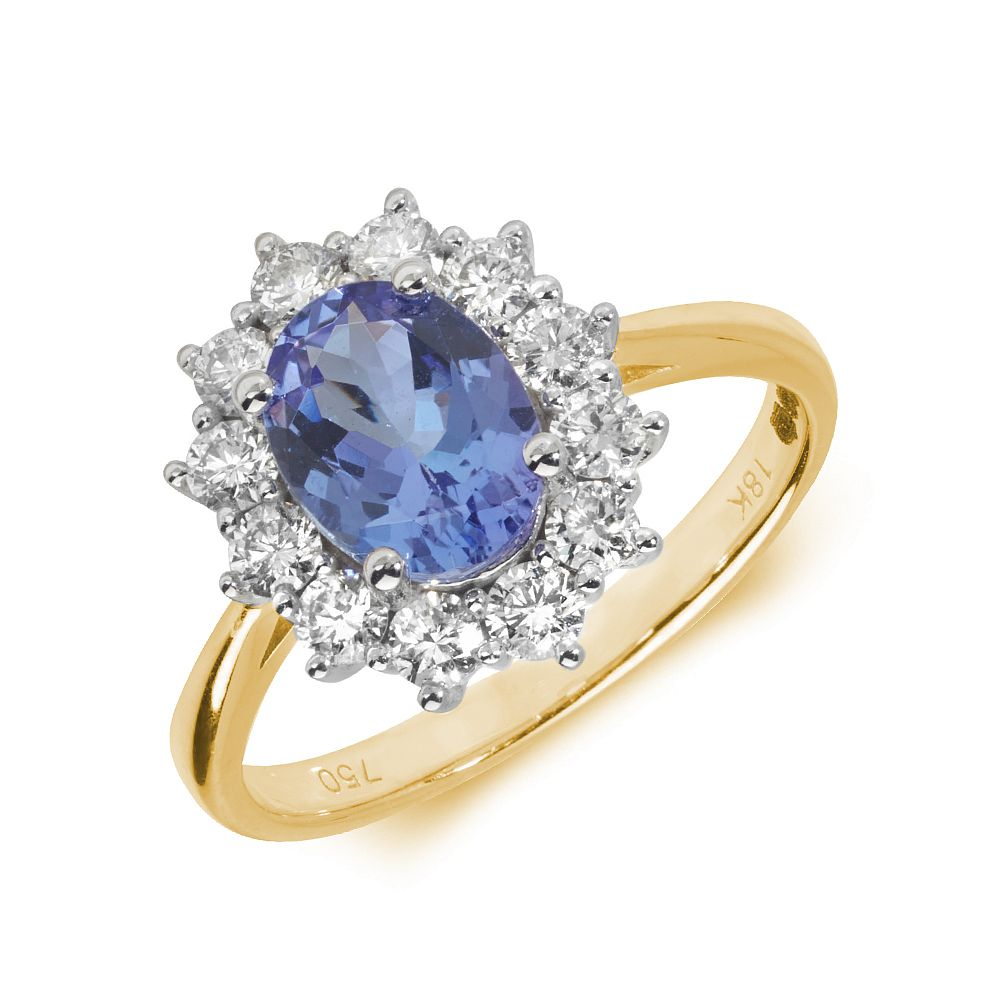 Gemstone Ring With 1.5ct Oval Shape Blue Topaz and Diamonds