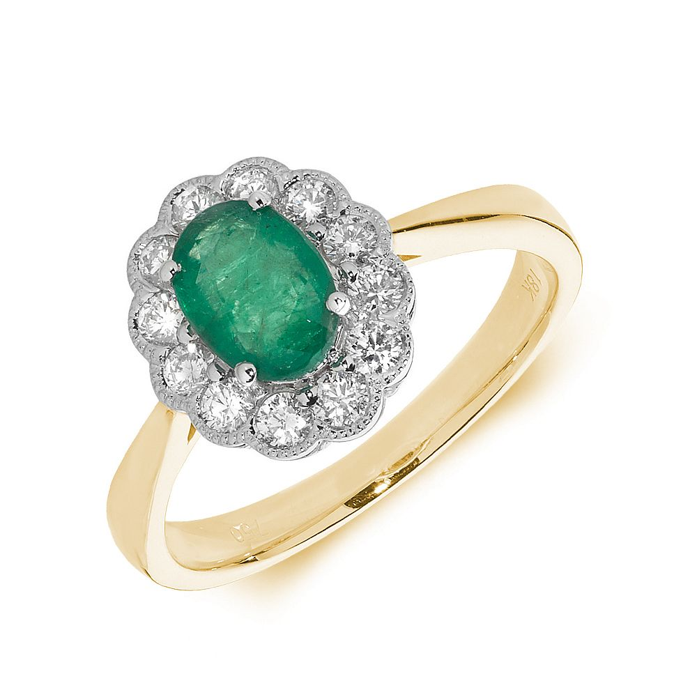 Gemstone Ring With 1ct Oval Shape Emerald and Diamonds