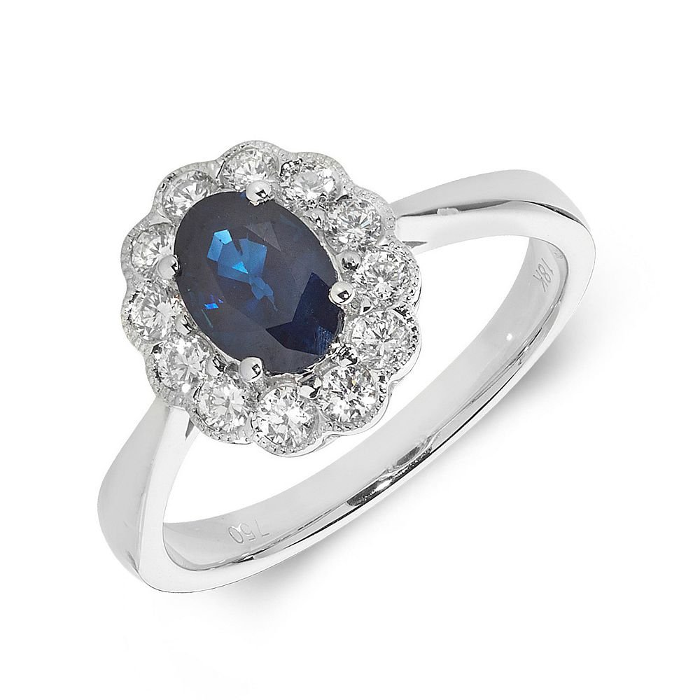Gemstone Ring With 1ct Oval Shape Blue Sapphire and Diamonds