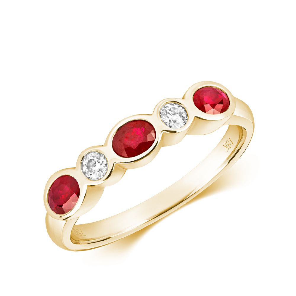 Bezel Set Five Diamond and ruby Gemstone Ring