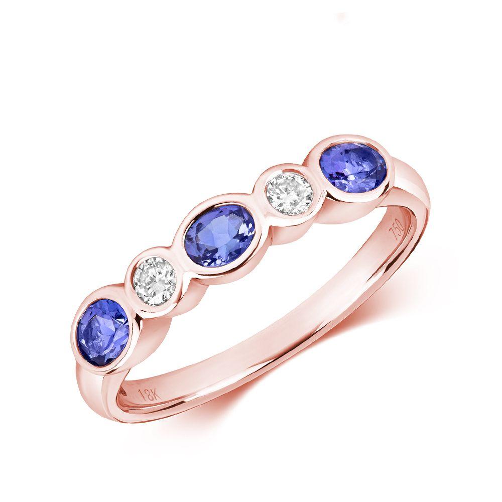 Bezel Set Five Diamond and tanzanite rings