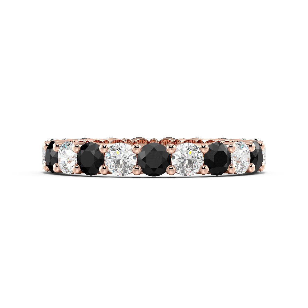 Prong Setting Round Full Eternity Black and White Diamond Rings (Available in 2.5mm to 3.5mm)