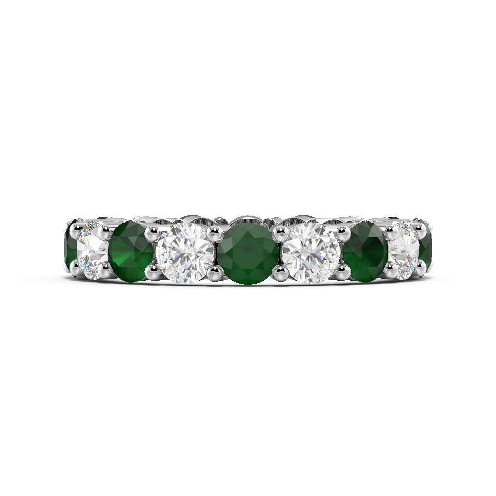 Prong Setting Full Eternity Diamond and Gemstone Emerald Rings (Available in 2.5mm to 3.5mm)