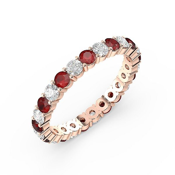 Prong Setting Full Eternity Diamond and Ruby Gemstone Rings (Available in 2.5mm to 3.5mm)