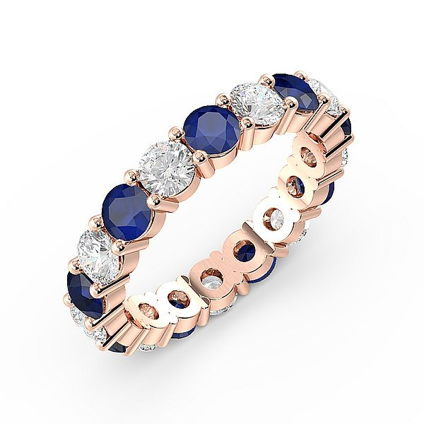 Prong Setting Full Eternity Diamond and Gemstone Sapphire Rings (Available in 2.5mm to 3.5mm)