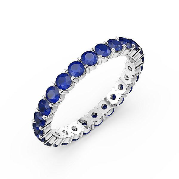 Prong Setting Full Eternity Gemstone Sapphire Rings (Available in 2.5mm to 3.5mm)