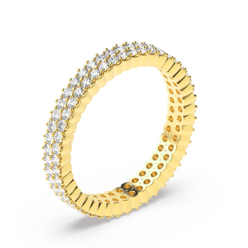 4 Prong Round Shape 2 Raw Full Diamond Eternity Ring (3.00mm)