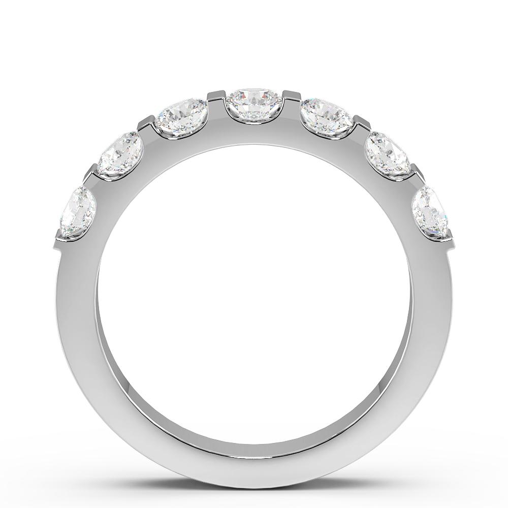 Bar Setting Round Shape 7 Stone Diamond Rings