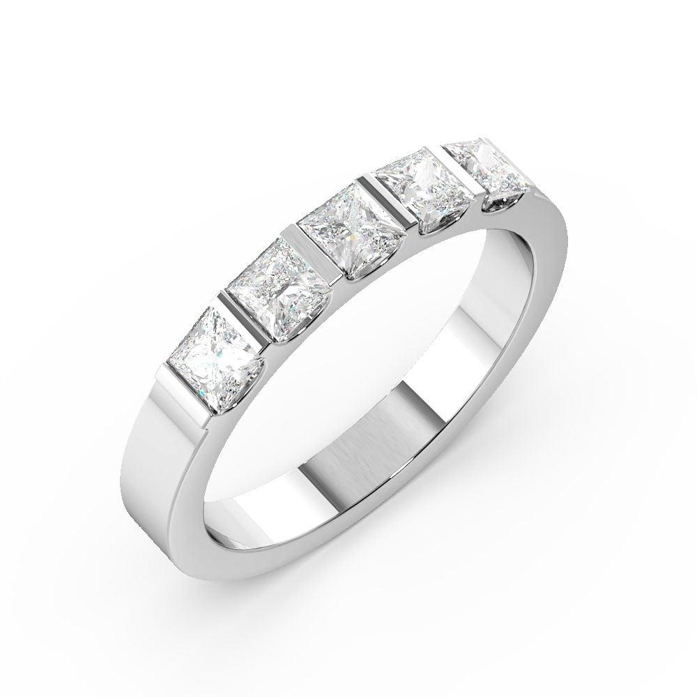 Bar Setting Princess Shape 5 Stone Diamond Rings