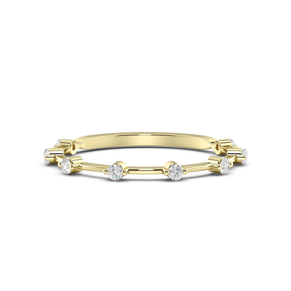 Prong Setting Round Shape Full Eternity White, Yellow & Rose Gold Eternity Ring (1.4Mm)