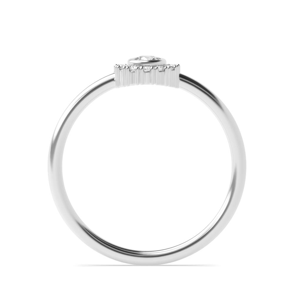 Bezel Setting Half Halo Crown Style Diamond Cluster Ring (5.20mm)