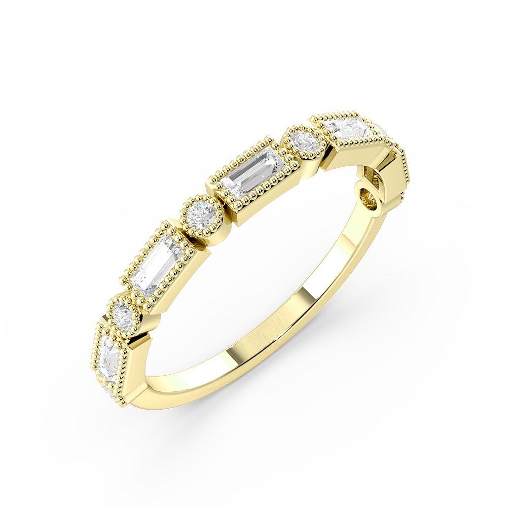 Bezel Setting Round And Baguette Shape Half Eternity Unique Wedding Rings (1.5Mm)