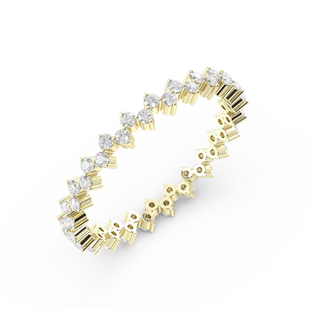Prong Setting Round Shape Full Eternity Diamond Wedding Rings(1.25Mm)