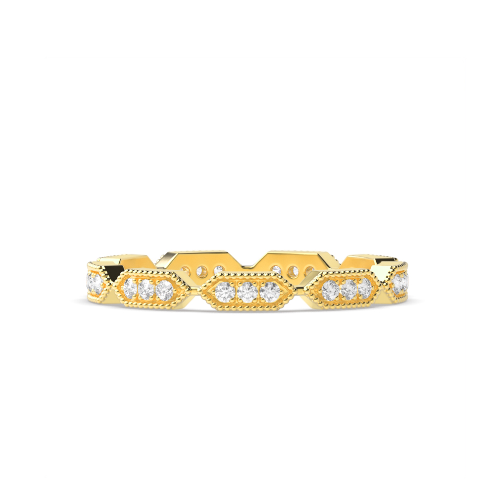 Pave Setting Round Diamond Gold And Platinum Full Eternity Ring (2.00Mm)