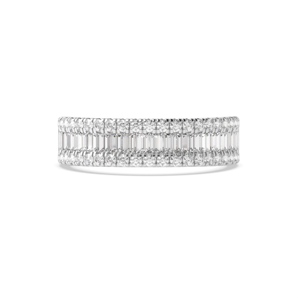 Prong And Channel Round And Baguette Shape Diamond Designer Rings(5.50Mm)