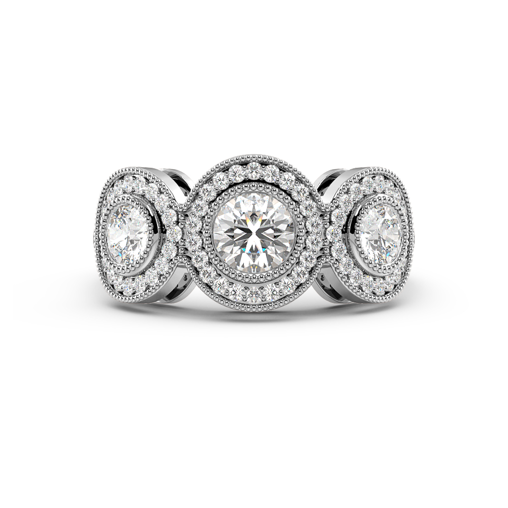 Bezel Setting Miligrain Halo Trilogy Diamond Engagement Rings (9.60mm)