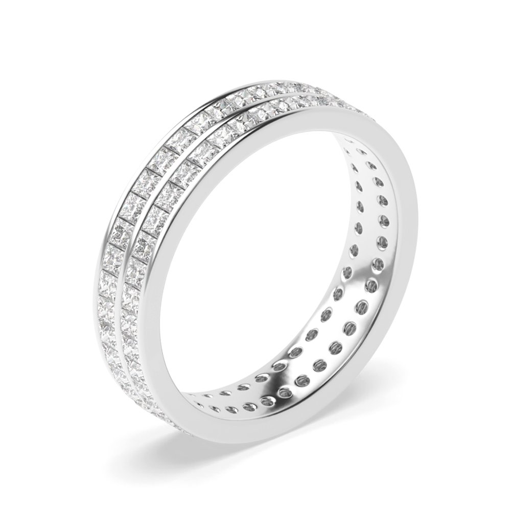 Two Raw Of Channel Set Princess Diamond Full Eternity Band(4.50Mm)