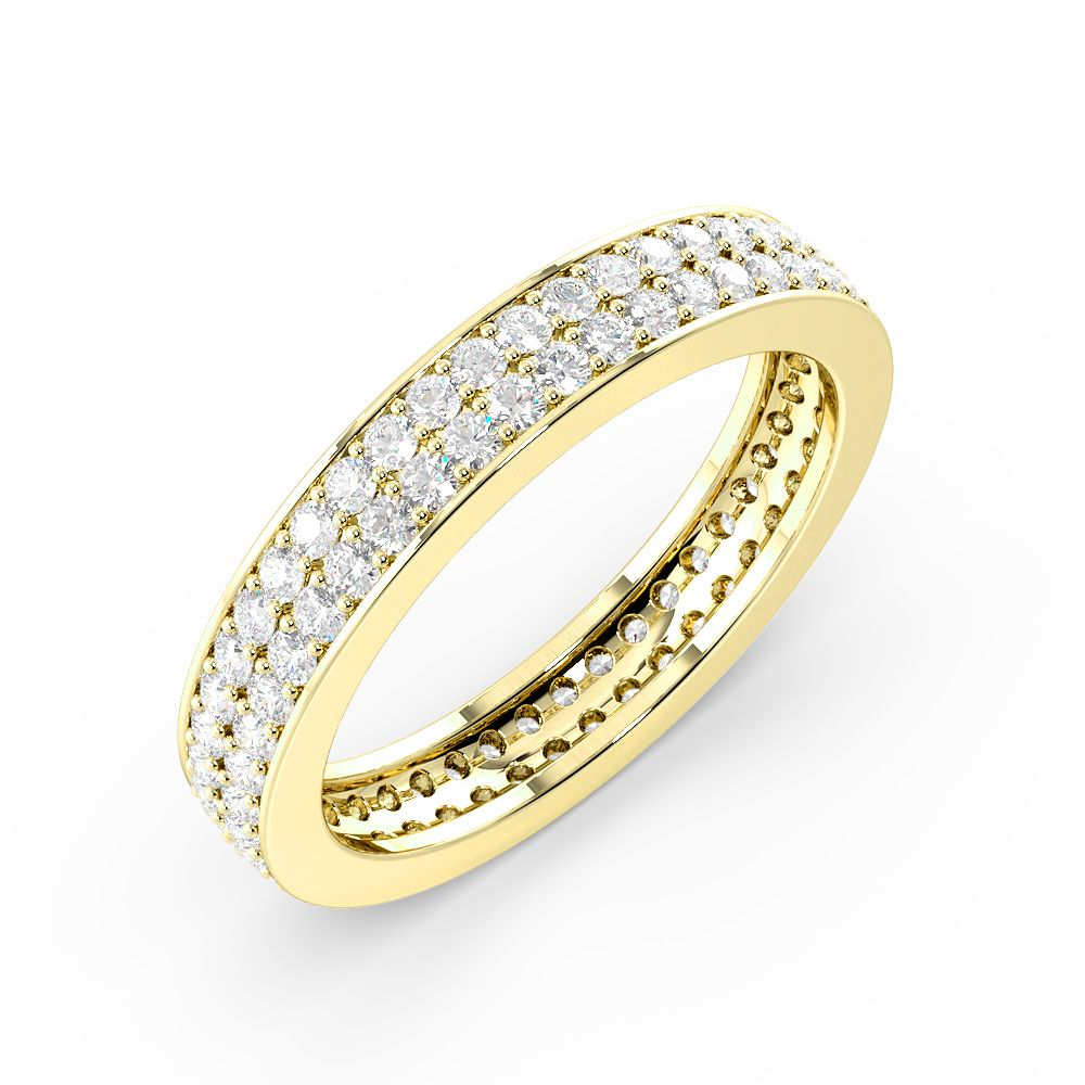 Two Raw Elegant Pave Setting Round Shape Full Eternity Rings Uk (3.60Mm)