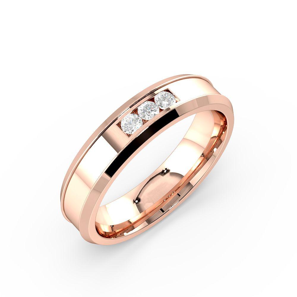 Channel Setting Beveled Edge Unique Diamond Wedding Ring (4.60mm)