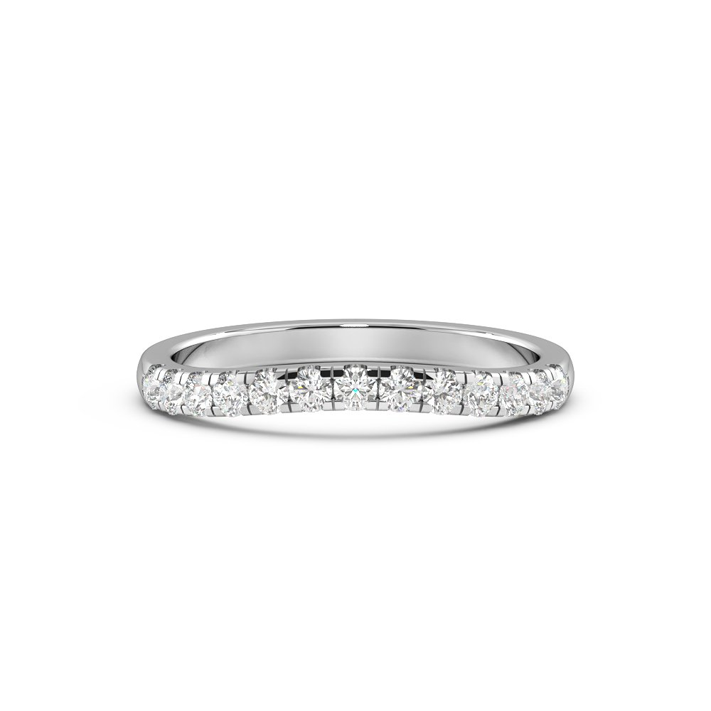 4 Prong Setting Popular Shaped Diamond Half Diamond Set Wedding Ring (2.00mm)