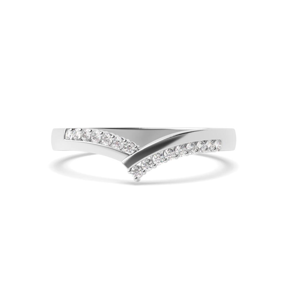 4 Prong Setting Wishbone Shaped Diamond Wedding Ring Half Eternity (5.30mm)